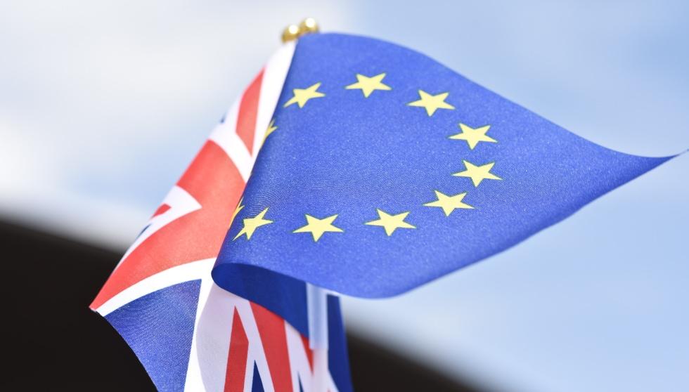 Union flag and European flag