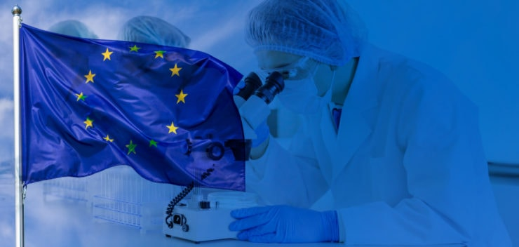 Montage of European flag and a scientist looking into a microscope